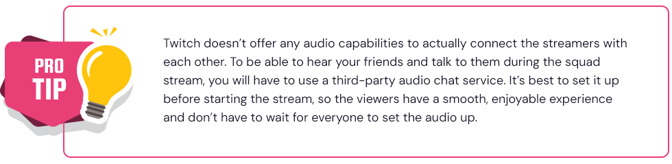 Pro tip - set up your team's audio before squad stream on Twitch